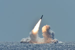 An unarmed Trident II D5 missile launches from the Ohio-class ballistic missile submarine USS Nebraska (SSBN 739) off the coast of California, March 26, 2008. The test launch was part of the U.S. Navy Strategic Systems Program's demonstration and shakedown operation certification process. The successful launch certified the readiness of an SSBN crew and the operational performance of the submarine's strategic weapons system before returning to operational availability. (U.S. Navy photo by Mass Communication Specialist 1st Class Ronald Gutridge/Released)